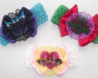 Nerdy Infant/ Toddler Retro Cartoon Bows and Lace Headbands