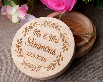 Wedding ring box, wooden ring box, personalized ring box, ring bearer box, wedding rings holder, rustic ring box, custom engraved ring box