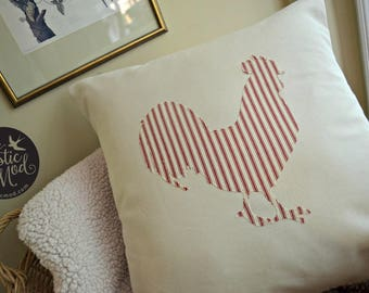 Rooster Pillow Cover - Red Ticking Stripe