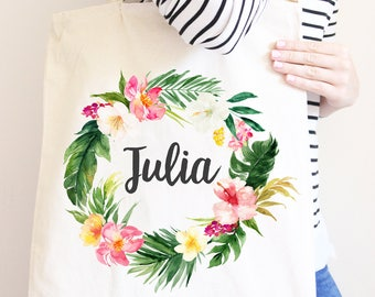 Personalized Canvas Tote Bag, Tropical Flower Wreath