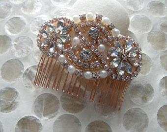 Bridal Hair Comb, Rosegold Wedding Head Comb, Wedding Headpiece, Rhinestone Head Comb, Rosegold Wedding Comb