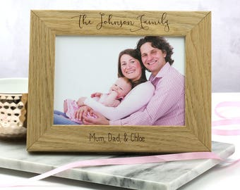 Family Photo Frame - Personalised Family Photo Frame - Photo Frame - Gifts For Couple - Oak Picture Frame - Photo Frame - LC220
