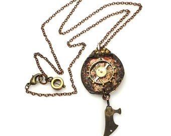 Dystopian/Reclaimed/Upcycled/Necklace/Jewelry/Hand Crafted/Bottle Cap/Organic/Vintage Watch Part/Gear/Copper/Metal/Steampunk/Cold Connection