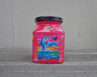 Cute Neon Pink Lisa Frank Rainbow Animals Stickers Stash Jar One of a Kind Handpainted Upcycled Glass Nug Jug