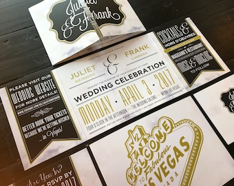 Las Vegas Custom Fold Wedding Invitations | Married in Vegas | Elopement Announcements | Las Vegas Wedding Design