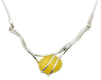 """Natural Butterscotch Baltic Amber Necklace & .925 Sterling Silver Necklace, 17"""", AE302"""