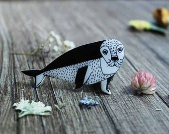 Sea animals Sea life ocean jewelry ocean life beach jewelry shell jewelry boho jewelry Seal sea lion pin black|and|white jewelry kids gift