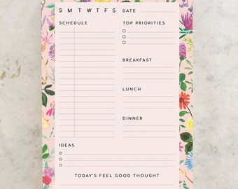To Do List Notepad, A5 Notepad, Daily Planner, Floral Planner, Paper Goods, Stationery, Herbal Remedies, Gift for Her,  BFF