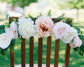 Flower garland, bridal chair back, bohemian flower garland, baby shower garland, floral wall hanging, chair garland, highchair banner