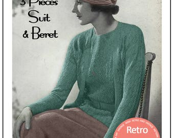 1930's Three Piece Suit and Beret Knitting Pattern - Instant Download - PDF Knitting Pattern