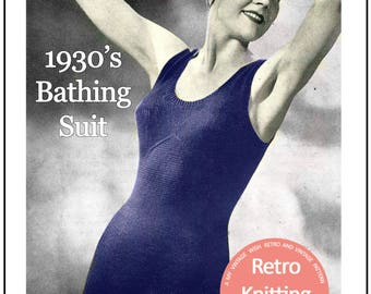 1930s One Piece Swimsuit  Vintage Knitting Pattern - PDF Instant Download