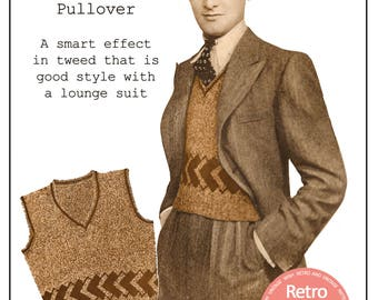 1930s Men's Pullover Vintage Knitting Pattern - PDF Knitting Pattern - Instant Download