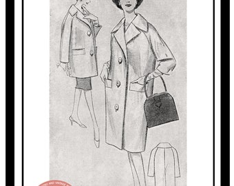 1950s Full or 3/4 length Coat Sewing Pattern - PDF  Instant Download