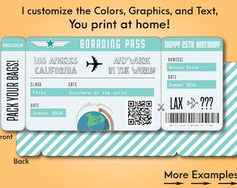 Printable Custom Boarding Pass Surprise Airline Ticket Airplane Destination  Train Cruise Plane Fake Ticket To Give  Printable Fake Airline Tickets