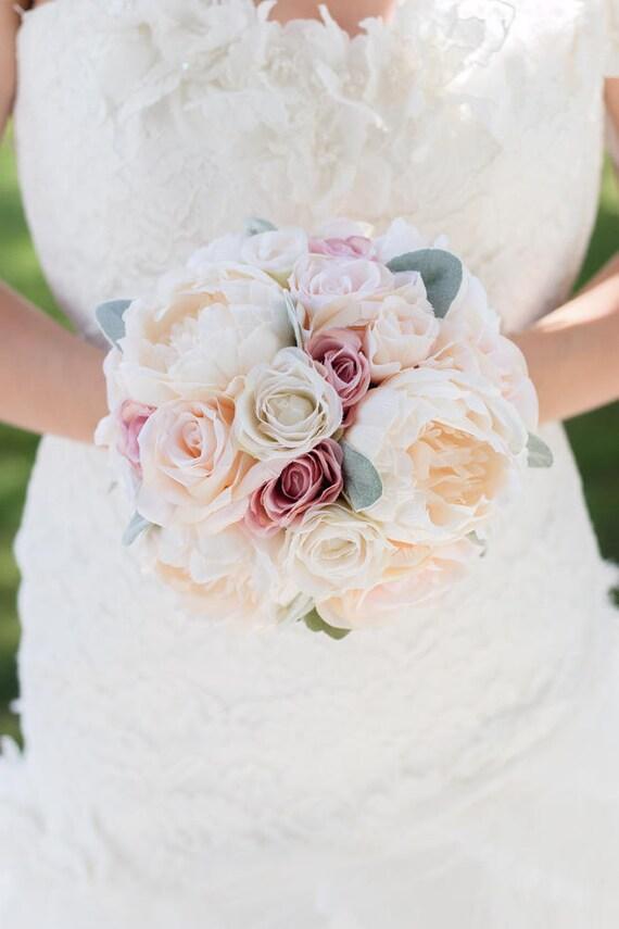 Custom Peony Rose Silk Flower Bouquet Dusty Rose Blush Real