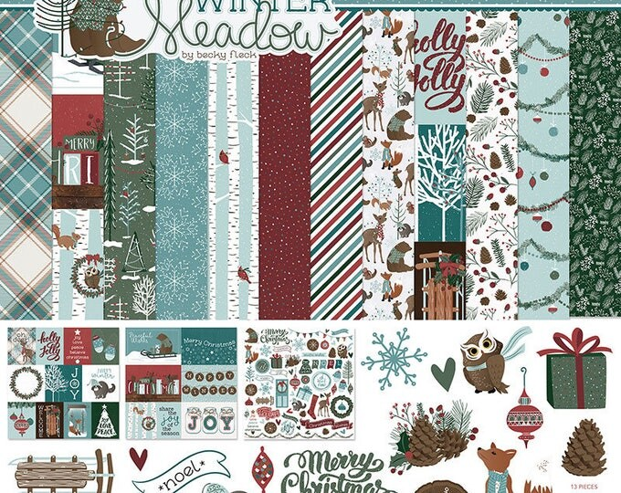 New! Photo Play WINTER MEADOW Christmas Holiday Theme 12x12 Scrapbook Cardstock Paper Collection Kit
