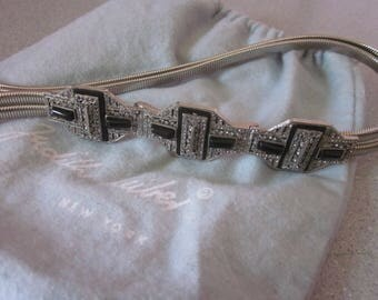 JUDITH LEIBER Silver Metal Belt with Stones, Size 24 - 27 inches
