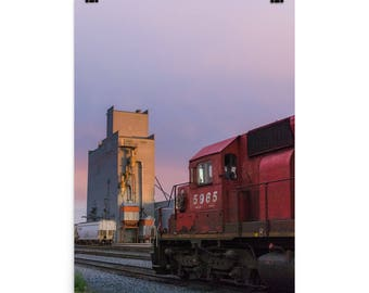 Photo paper poster - Red Silo Original Art - Canadian Pacific Elevator