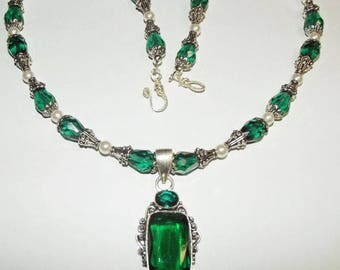 Real Tourmaline Deep Green Gemstone encased in .925 Sterling silver Necklace, Pendant