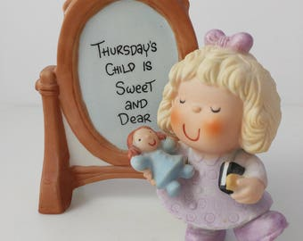 "Dear God Kids Bisque Figurine Girl Mirror 1980s ""Thursdays Child is Sweet and Dear"" Enesco"