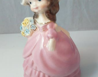 Cute Girl Floral Ceramics Gold Pastel Figurine 1990s Decor - 5.5 Inches