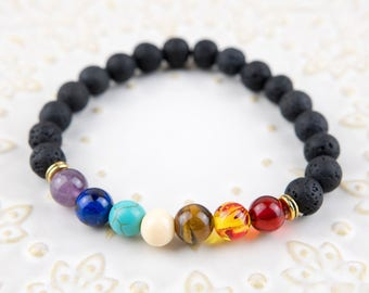 Lava stones with 7 colour stones beaded bracelet 8mm beads