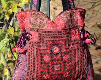 Thai Hill Tribe embroidered tote bag, shoulder bag, pattern bag, Boho fashion, ethnic craft, Gypsy