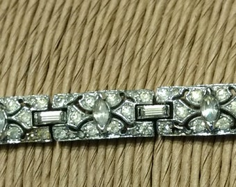 Vintage 1960's Designer Signed Panetta Rhinestone Tennis Bracelet