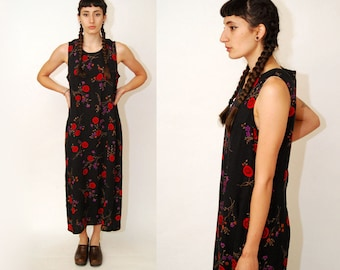 90s FLORAL SUNDRESS (12) black vintage medium large column maxi full length sun dress flower floor print sleeveless carnation peony red rose