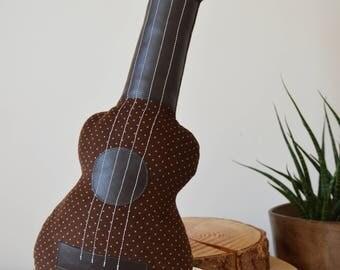 Ukulele Cushion, Ukulele Pillow, Guitar Cushion, Plush Ukulele, Music Decor, Ukulele Gift, Decorative Ukulele in Brown Polka Dot Corduroy
