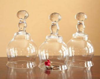 Vintage clear glass cloches / glass display domes