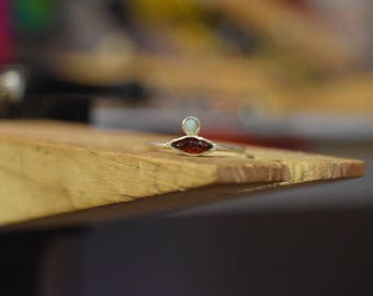 Garnet and Opal Sterling Silver Ring