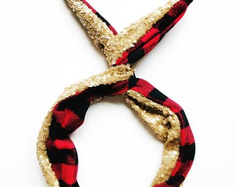 Red Buffalo Plaid and Gold Sequin Wire Headband by Byrd