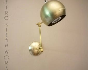 Articulating Wall Mount Mid Century Modern LED Light - Unfinished Brass Sconce Ball Lamp