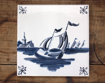 Hand Painted Delft Style Ceramic Tile Blue and White Sailboats