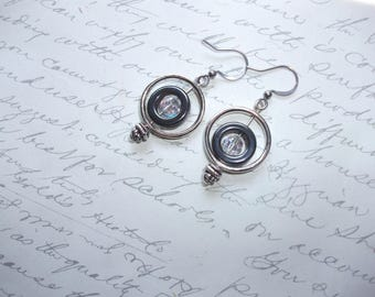 Hematite circle drop earrings  with crystal