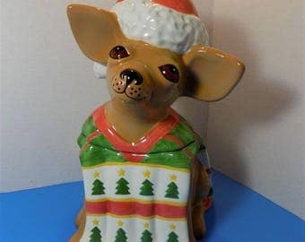Clay Art Ceramic Mexican Chihuahua Cookie Jar Figurine Dog Pets Latin Collector Christmas Dog