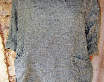 Linen top piece hand made in Switzerland
