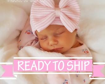 NEWBORN GIRL, baby girl, newborn hospital hat, newborn hat, newborn hats baby pink girls hospital beanie cap pink stripe