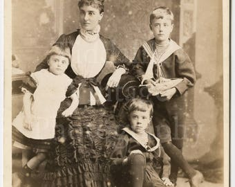 Cabinet Card Photo - Family Portrait of Victorian Mother Pretty Dress & 3 Children Sailor Outfit Model Toy Yacht Boat - Margate England