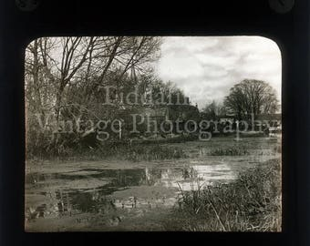 Antique Magic Lantern Glass Slide River Scene with Church in the Distance - Vintage Projector Slide