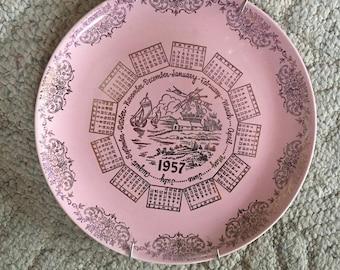 Vintage 1957 Plate in Pink