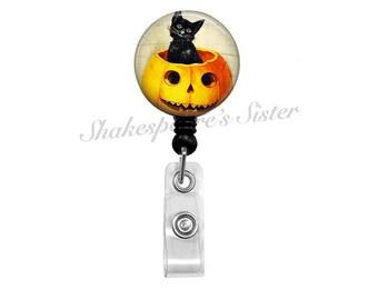 Halloween Badge Reel - Cat Badge Reel - Retractable Badge - ID Holder - Nurse Badge Reel - Pumpkin Badge Reel