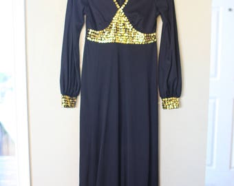 vintage black & gold sequined disco  maxi length dress *