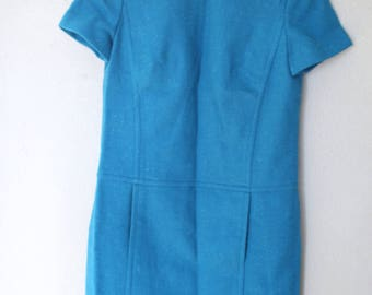 vintage pendelton 1960s turquoise shift dress with pockets