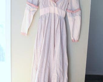 vintage gunne sax prairie dress pink & blue striped crochet lace