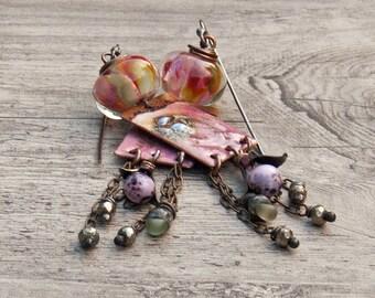 Enameled charms earrings artisan chandelier rustic fringe in pink - Verreetcuivre- Amy Hall- Sasha Crow- WinterBirdStudio