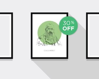 ON SALE!!! Claude Monet Portrait Print
