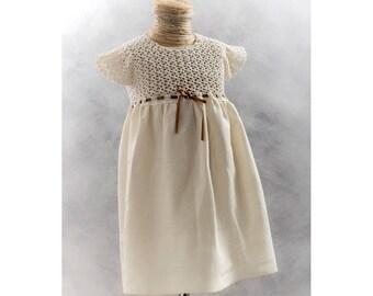 linen baby dress wedding