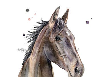 horse portrait, pet portrait, equine portrait, equine art, horse art, horse watercolour, horse watercolor, equine, custom horse, equine